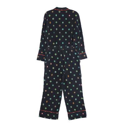 pattern pajama shirt black  & pattern pajama pants black